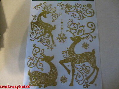 CHRISTMAS REINDEER'S GOLD GLITTER WINDOW CLINGS INDOOR DECORATIONS 7 PCS