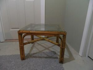 """Rattan Coffee Table with Glass top (21"""" x 21"""" x 16""""H)"""