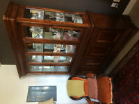 Antique cabinet for dishes and Spanish Chair.