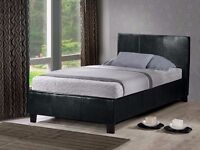 SINGLE LEATHER BED AND LUXURY MEMORY FOAM MATTRESS - BRAND NEW - EXPRESS DELIVERY