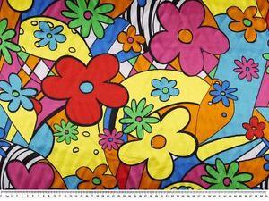 polyester satin flower power multicoloured carnival app 150cm wide ebay. Black Bedroom Furniture Sets. Home Design Ideas