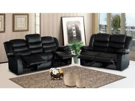 ***ROMAS BLACK NEW LEATHER RECLINER SOFAS FREE DELIVERY***
