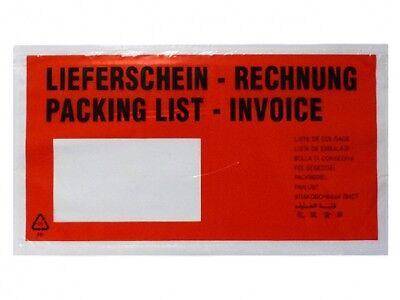1000 Dokumententaschen DIN Lang Lieferscheintaschen Rechnungstaschen