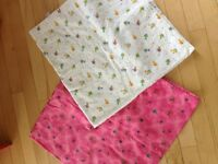 Flannel blankets, breastfeeding pillow, and Fleece carseat cover