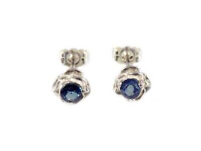 Blue Sapphire Earrings Medieval Ram Engraved Gem Stops Black Magic Antique 19thC