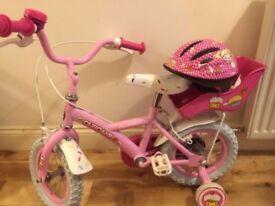 Kids cupcake pink bike bicycle with Helmet toy