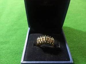 10k Gold Ring with Diamonds & Black Gemstones $395