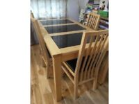 Luxury Granite layered dining table with 4 chairs