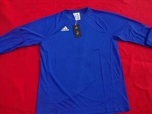 uomo-adidas-BRACCETTI-Maglietta-Manica-Lunga-Maglia-da-corsa-blu-M-L-XL