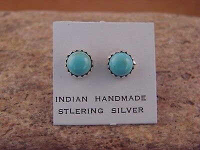 Native American Sterling Silver Turquoise Dot Post Earrings! Navajo Indian
