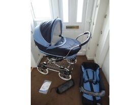 BEBECAR GRAND STYLE 3 IN 1, CARRYCOT, PRAM (USED FOR 2 MONTHS) & PUSHCHAIR (NEVER USED),