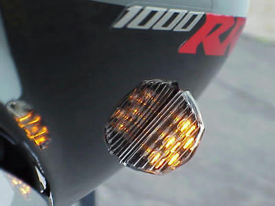 Black Clear Bright Led Rear Turn Signals For Sportbikes