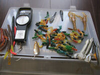Fishing Rod, Reel, Lures, Hooks, Sinkers and Weighing scale