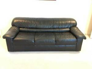 New Black Leather Sofa (Can Deliver)