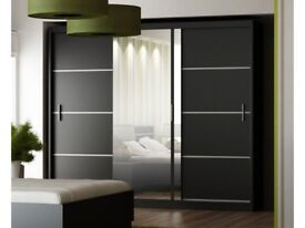 EXCLUSIVE SALE🔴FAST DELIVERY🔵FULL MIRROR🔴BRAND NEW 2 OR 3 DOOR SLIDING WARDROBE IN BLACK AND WHIT