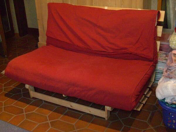 Reduced Ikea Grankulla Timber Double Futon Lounger In Excellent Condition