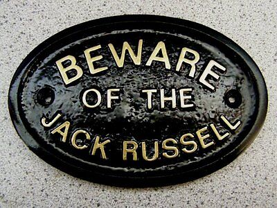 BEWARE OF THE JACK RUSSELL HOUSE DOOR PLAQUE DOG SIGN (Gold or Silver Lettering)