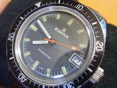 RARE & COLLECT 60'S EDOX HYDROSTAR DIVER'S MANUAL CAL 1950-51 RUNS         #5856