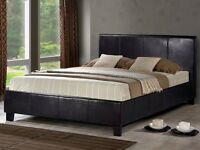 Berlin faux leather double bed in brown