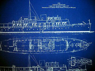Vintage 136 foot American Yacht 1931 Blueprint Drawing 20