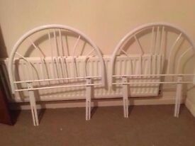 2 while metal single headboards (pair)