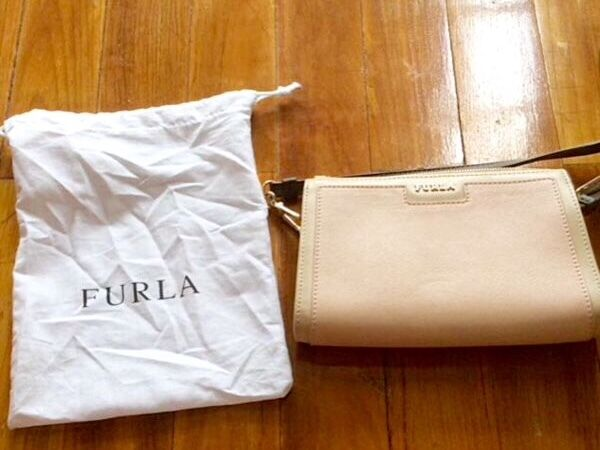 Furla New Pink And Beige Leather Crossbody Bag With Brown Straps