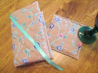 NEW - Tan & Flower Print Handmade Quilted Paperback Book Cover & Bev Coaster