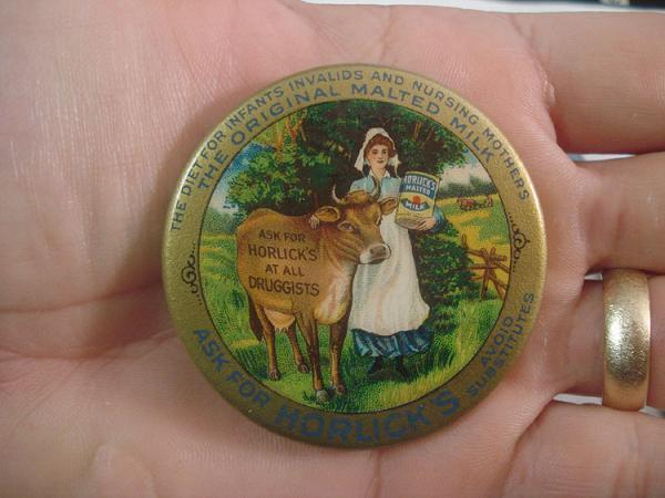 CELLULOID POCKET MIRROR ~ HORLICK
