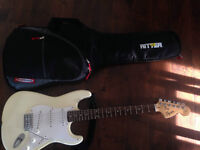 Squier Strat electric guitar with 2 amps & guitar bag