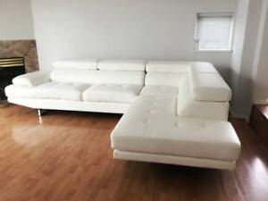 Exquisitely Crafted, Luxury White Leather Sofa for Sale!