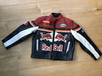 Kids genuine leather redbull motorbike jacket