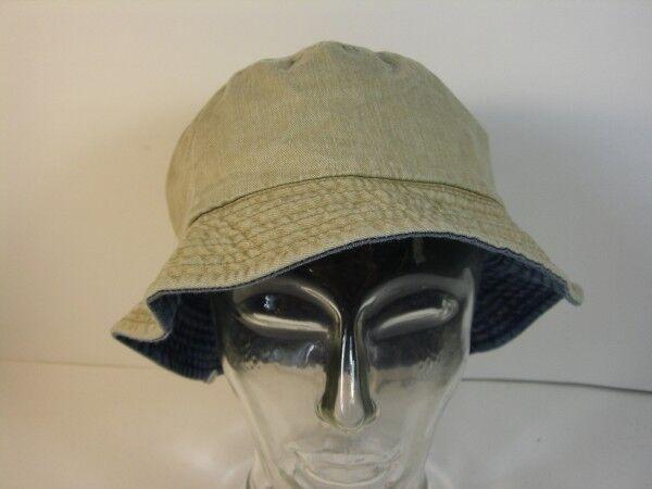 Mütze Anglermütze Strandhut Gr. 58 beige blau Jeans zum wenden echt Vintage