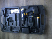 Cordless Power Drill, Case, Charger with 2 battery packs