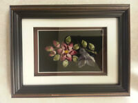 Hummingbird with Flowers Framed Caribou Tufting