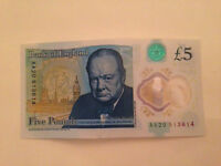 Five Pounds note Bank of England AA20 513614