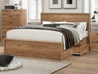 Stockwell Bedroom Set - Double Bed, 8 Drawer Chest, 2 Door Wardrobe & Bedside