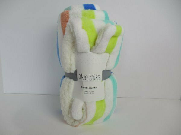NWT Okie Dokie Multi Striped Blue Aqua Yellow White Sherpa Plush Baby Blanket