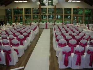 FOR SALE: 250 CHAIRCOVERS-White Banquet (weddings/events)-$500