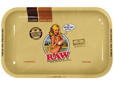 RAW  Metal Rolling Tray Rolling Paper Girl Logo~AMAZING~New Release 7X11