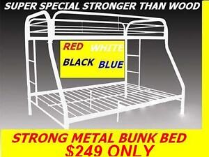 SINGLE/SINGLE, SINGLE/ DOUBLE STRONG METAL BUNK BED ON CLEARANCE