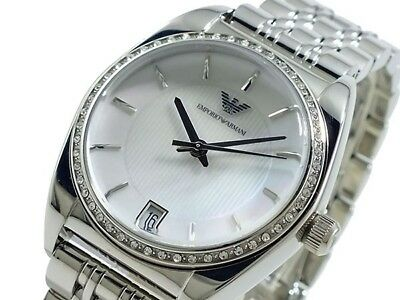 NEW EMPORIO ARMANI WHITE DIAL DIAMOND STAINLESS STEEL LADIES WATCH AR0379