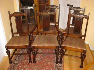 2 Sets Antique / Vintage Upholstered Dining Chairs, Great Cond!