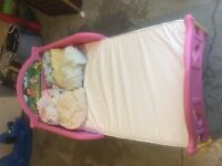 Toddler Dora bed with mattress and 6 sheets