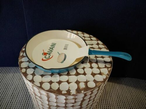 CAVANI Enameled Cast-Iron Skillet 10 Inch, Teal Ombre with Silicone Grip