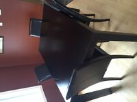Espresso Table and Leather Chairs