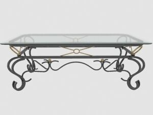3 Piece Glass and Iron Coffee table set