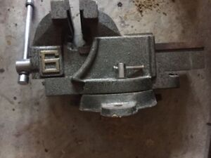 """Vintage 6"""" heavy duty bench  vise with swivel base."""