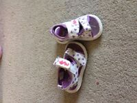 Purple and white sandals
