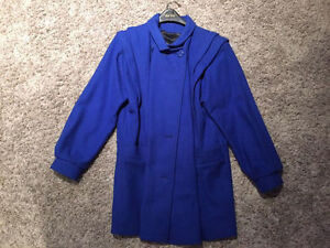 Ladies Blue wool winter coat, size 14