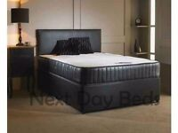"""Leather Double Bed Set + 10"""" Memory Foam Sprung Mattress + Headboard Inc Free Delivery"""